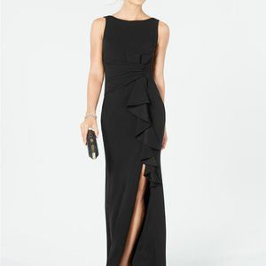 Betsy & Adam Ruffle-Detail Gown Black Size 16